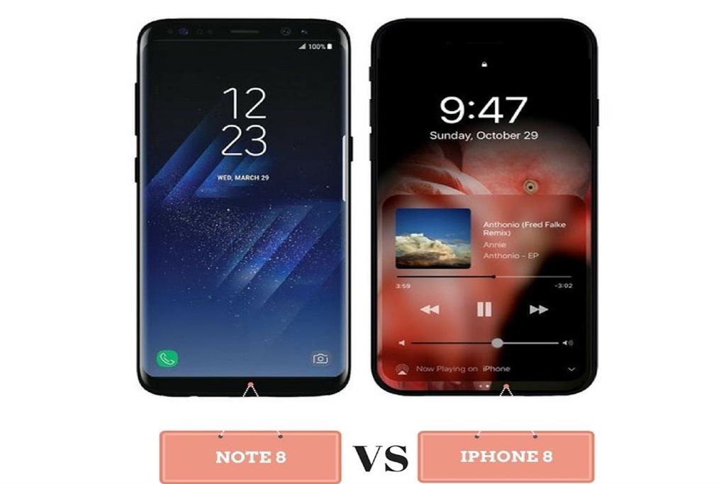 Galaxy Note 8 ve iPhone 8 konsept görüntüsü.