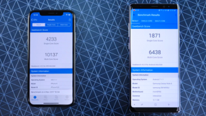 iPhone X Galaxy Note 8 Geekbench sonucu.